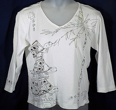 Chicos 2 Top White Embellished 3/4 Sleeves