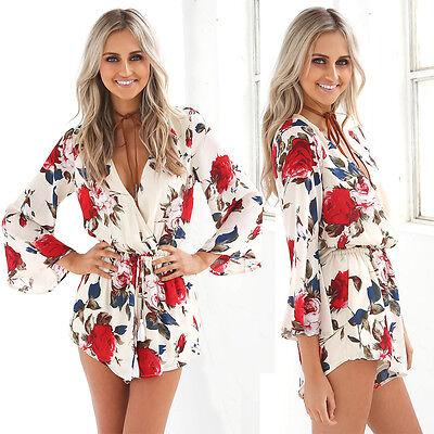 Sexy Women Jumpsuit V NECK Playsuit Romper Floral Summer Beach Long Sleeve Dress