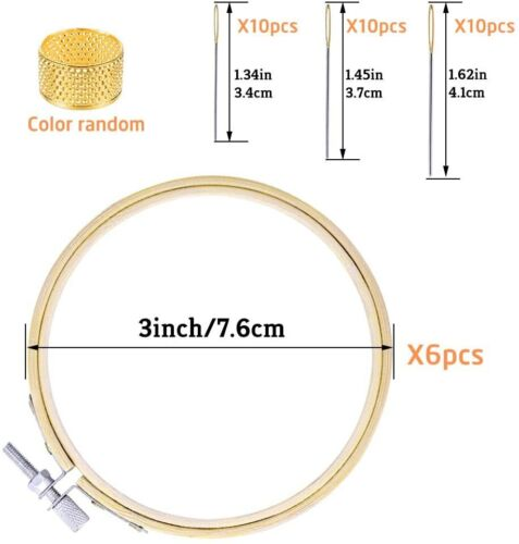 6Pcs Embroidery Hoops Frame Set Bamboo Circle Rings Needles For DIY Cross Stitch