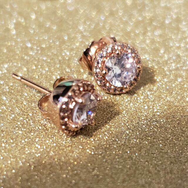 23d32b005 Pandora Classic Elegance Rose Gold Stud Earrings With Clear CZ 286272CZ