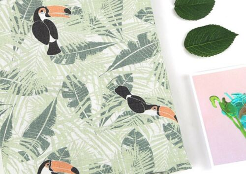Toucan Bird 100/% Cotton Fabric BY HALF YARD Jungle birds digital print JC9//18+