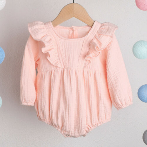 0-24M Infant Baby Girl Solid Linen Ruffle Long Sleeve Romper Bodysuit Top Blouse