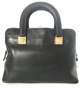 afc4be5a4aa3b Image is loading AUTHENTIC-GIANNI-VERSACE-COUTURE-HANDBAG-BLACK-LEATHER- MEDUSA-