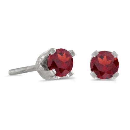 14k Petite White Gold Round Garnet Children/'s Screw-back Stud Earrings