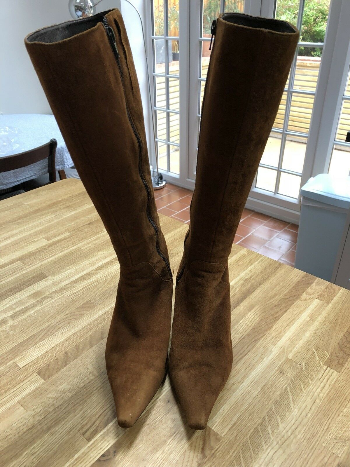 Knee High Brown Suede Leather Boots Size 5 38 Soft Italian Leather
