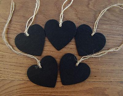 5x Mini Heart chalkboard blackboard tag label great for home, weddings & parties