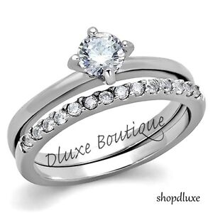 1-15-Ct-Round-Cut-AAA-CZ-Stainless-Steel-Wedding-Ring-Band-Set-Women-039-s-Size-5-10