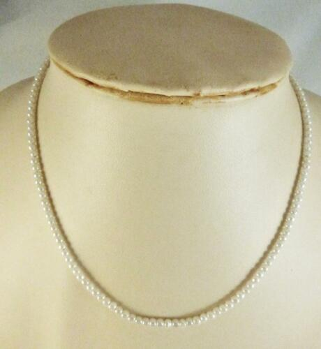 3mm Imitation Pearl Chain Strung Strand Necklace Length 16