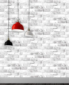 Details About White Brick Effect Wallpaper 3d Weathered Stone Realistic Debona Paste The Paper