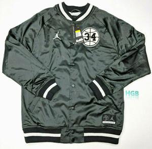 Nike Air Jordan He Got Game Satin Jacket Mens Black White Varsity AR1169 010 NWT
