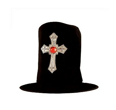 Adult's Fancy Dress Vampire Top Hat with Cross Hunter Velvet Halloween