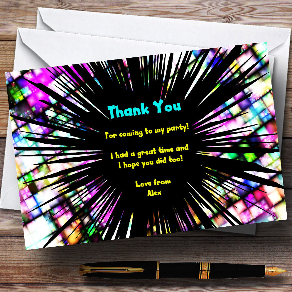 Gelb Aqua Disco Firework Personalised Party Thank You Cards