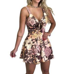 Women-spaghetti-jumpsuit-strap-shorts-v-neck-floral-trousers-mini-beach-romper
