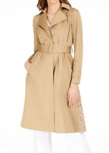 INC Women's Trench Coat Khaki Beige Size XL Lace Back Belted Collar $149 #155