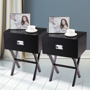 Details about Bedside Table With a Drawer Bedroom Modern Night Stand Wood  End Side 2PCS Black