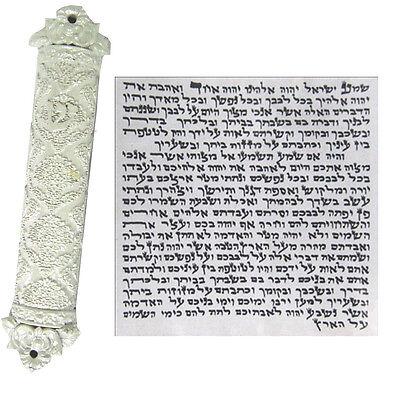 Mezuzah Case With Kosher Scroll Judaica Mezuza White Color Holy Israel Jewish