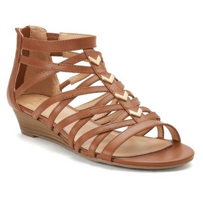 Apt. 9 Opportunity Gladiator Sandals Women's 7.5M, Cognac Brown, NIB, FREE S&H