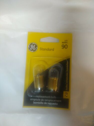 GE 90 Miniature Lamp Bulb Clear 8w Dual Contact 12 volt G6-2 in Pack