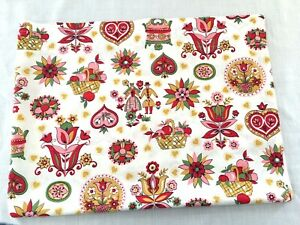 Vintage-Curtains-Dutch-Tulips-Red-Hearts-Baskets-of-Apples-Set-of-2-Panels