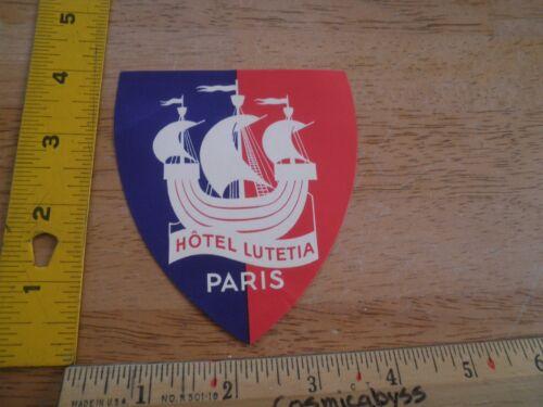 Hotel Lutetia 1930s-40/'s luggage decal label ship PARIS France VINTAGE