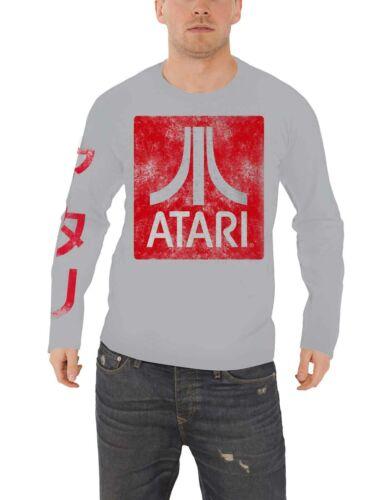 Atari T Shirt Classic Box Logo distressed new Official Gamer Mens Long Sleeve