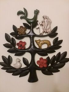 1963-MCM-Vintage-Original-034-Tree-of-Life-034-Wall-Plaque-Animals-Flowers-People