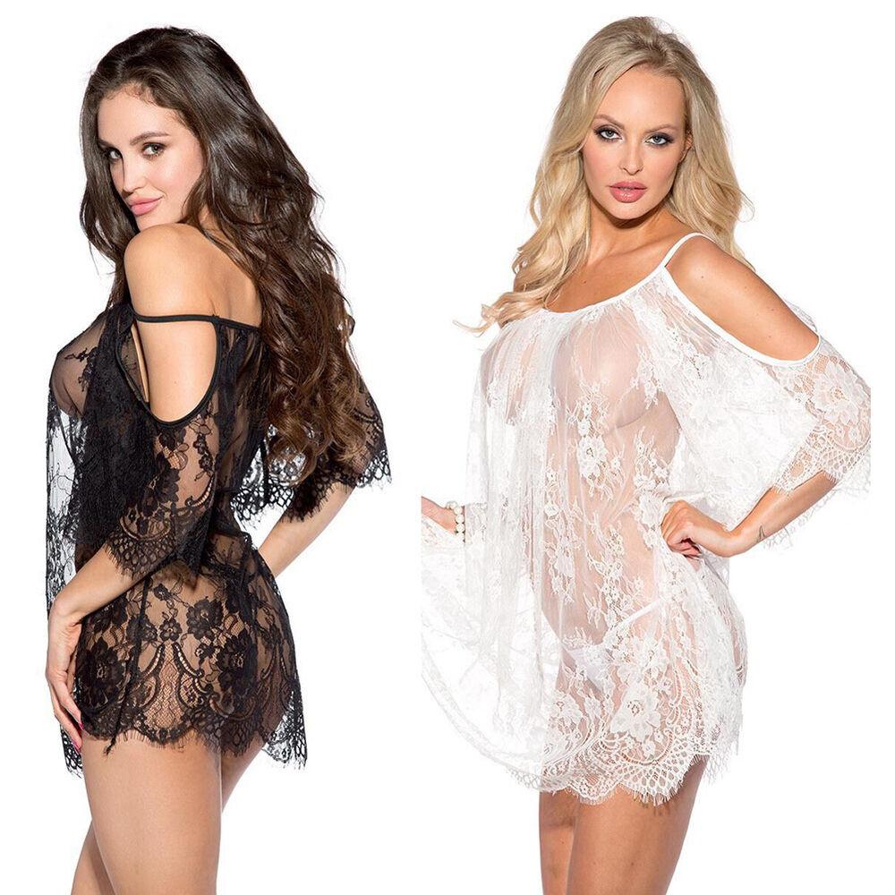 Eg _ Sexy Damen Spitze Durchsichtig Unterwäsche Nachtwäsche Schlafanzug Set