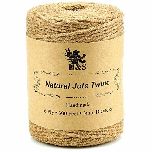 H/&S Jute Twine String 600 Feet 6ply 3mm Thick Strong Natural Jute Rope Roll