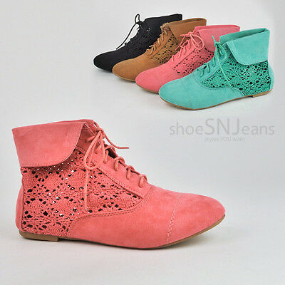 Women Crochet Lace Up Ankle Booties Cute Loafers Oxfords Fold Over Boots Shoes
