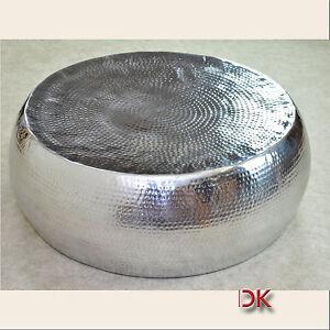 couchtisch metal tisch beistelltisch rund 83 h29cm silber alu hammerschlag optik ebay. Black Bedroom Furniture Sets. Home Design Ideas