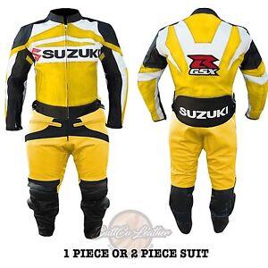 Cuero-Real-Estilo-Motero-Traje-Suzuki-Gsx-R-Amarillo-Chaqueta-Moto-Pantalones