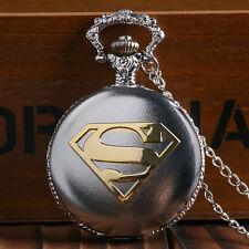 Pilotenuhr Herrenuhr Taschenuhr Herren mechanische Uhr in Silber Superman Logo
