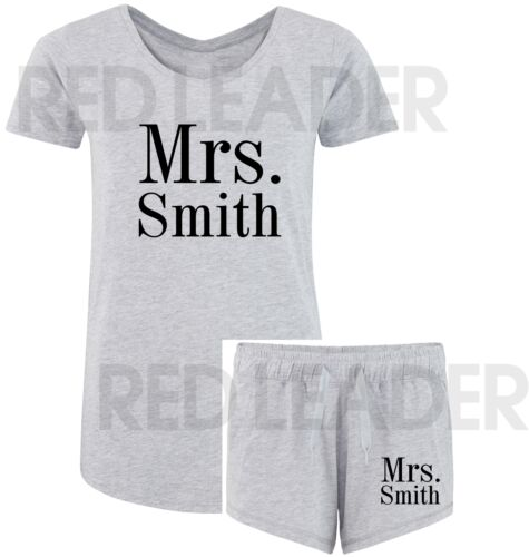Personalised 'Mrs' Surname Ladies//Womens T Shirt /& Shorts Lounge Sleep Wedding
