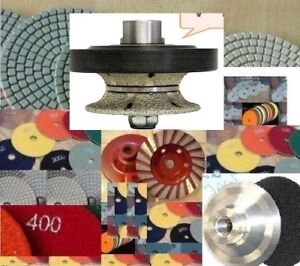 "Diamond 1 1/2"" Full Bull nose Router Bit 10 Polishing Pad Cup stone concrete"