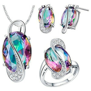 Mystic-Topaz-925-Silver-filled-Jewelry-Set-Wedding-Party-Necklace-Earring-Ring