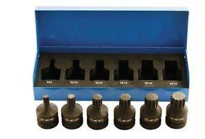 Laser-Tools-4939-Spline-12-Punkt-Bit-Set-1-2-Drive-Impact-6-teilig-Set-m8-gt-m18