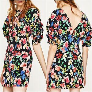 Zara-Floral-Short-Sleeves-Mini-Dress-Size-XS-M-L-6-10-12-UK-US-2-6-8-Blogger