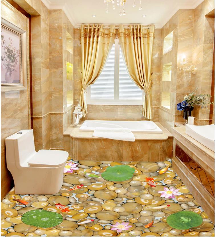 3D Stone Goldfish Pond 8 Floor WallPaper Murals Wall Print Decal AJ WALLPAPER US
