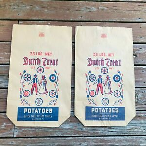 Vintage-Dutch-Treat-Food-Supply-Paper-Potato-Bags-Made-In-USA-Lot-of-2