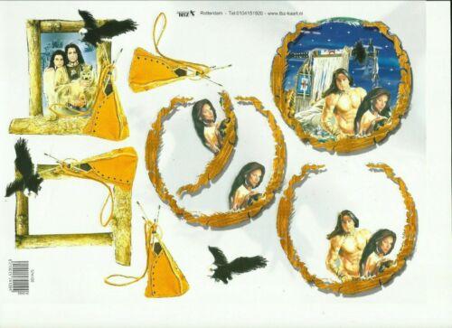 1 x A4 Sheet NON Die-Cut Decoupage North american Indians TEZ