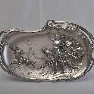 WMF-Jugendstil-Schale-Tablett-Jagdgesellschaft-der-Diana-41cm-Art-Nouveau