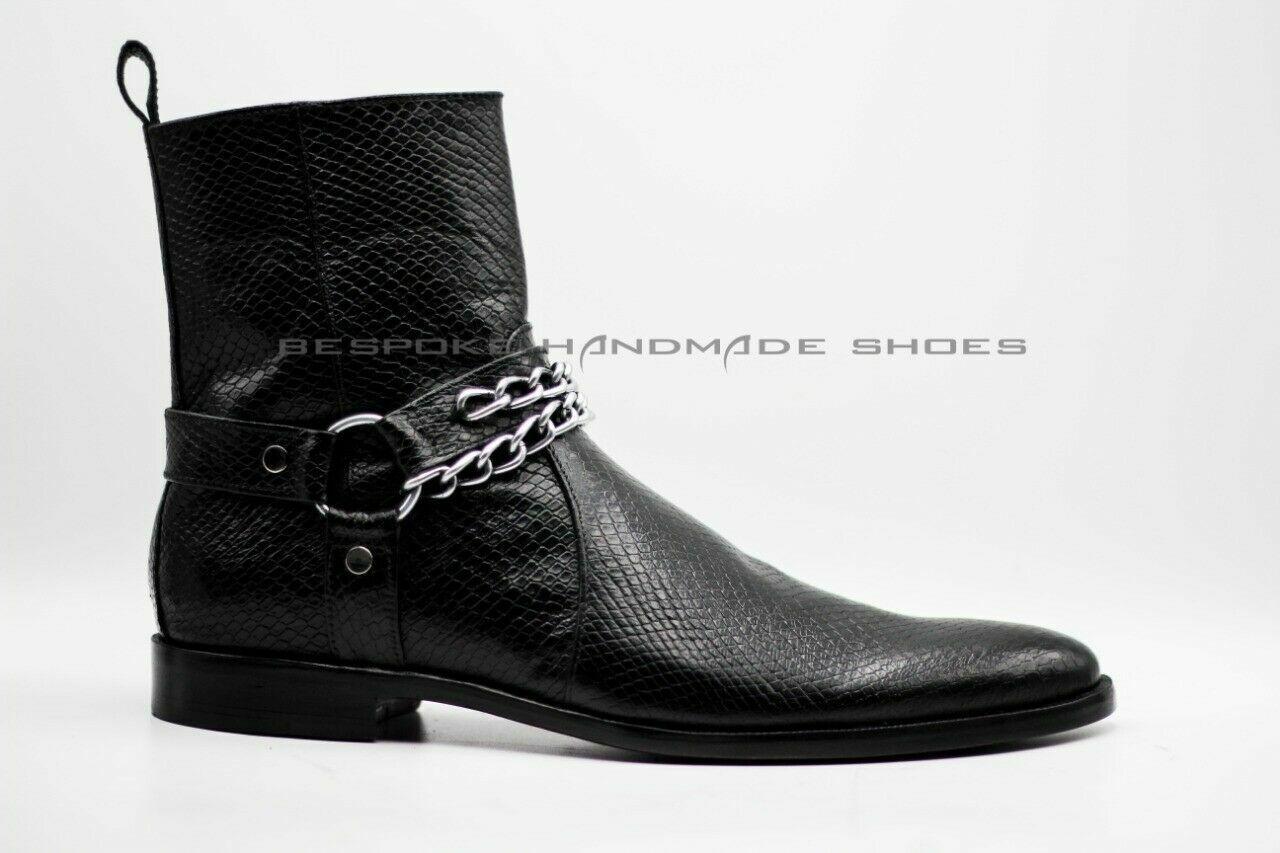 Men's Handmade Genuine Leather Snake Skin Imitation Zipper Ankle Formal stivali
