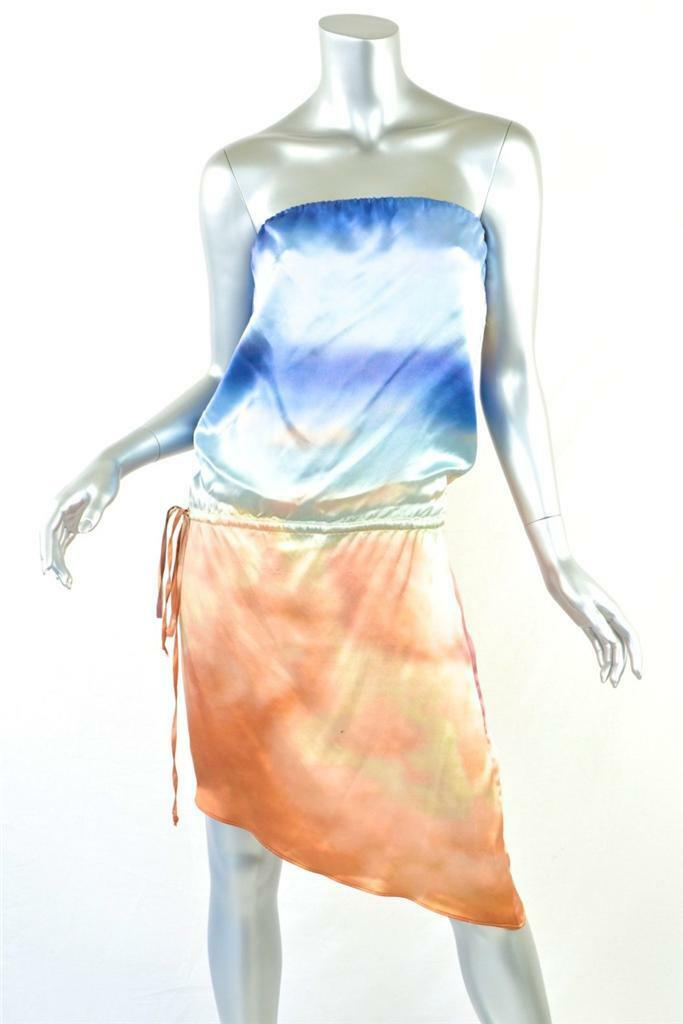 PENCEY Womens bluee orange Tye-Dye Blouson Asymmetrical Strapless Dress 2 NEW