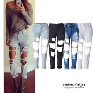 Ripped-Boyfriend-Black-Distressed-Jeans-Pants-Womens-Size-10-12-14-16-jn43