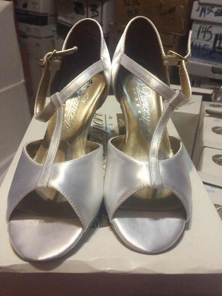 Dancesport BR08 Ballroom Shoes WHITE Satin Ladies 5-6.5M 2.5