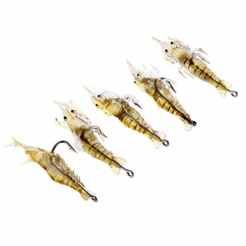 5 Pcs Lures Bait Shrimp Fishing Simulation Prawn Saltwater Hooks Fish Crank Bait