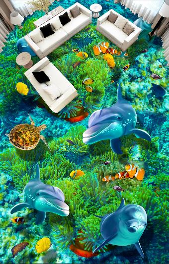 3D Dolphin Seaweed 43 Floor WallPaper Murals Wallpaper Mural Print AJ AU Lemon