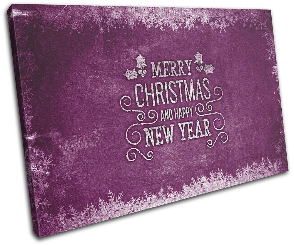 Christmas Decoration Wall Canvas ART Print XMAS Picture Gift Chalk 07 lila Chr