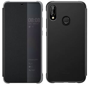 NEW-GENUINE-HUAWEI-P20-LITE-SMART-VIEW-FLIP-CASE-COVER-WALLET-SLEEP-WAKE-BLACK