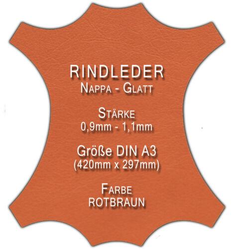 42cm x 30cm cuero color marrón-rojizo restos bastelleder Teñido Nappa tamaño din a3